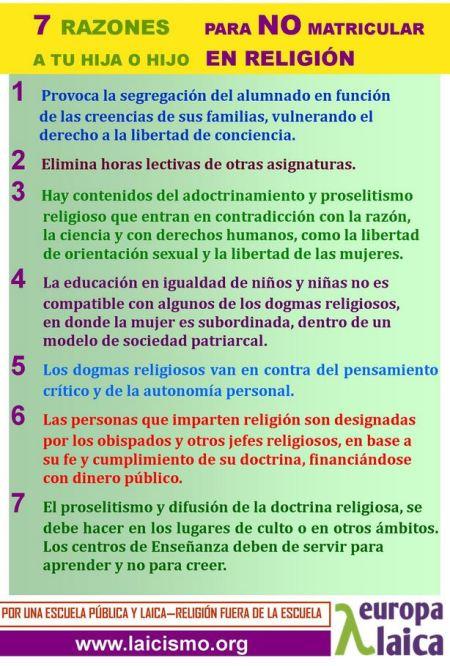 siete razones para no matricular a tus hijos en religión