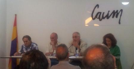 Francisco Delgado, presidente de Europa Laica; Francisco Frutos, ex secretario general del PCE y Lidia Falcón, presidenta del partido Feminista