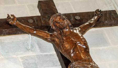 Detalle del Cristo d ela Paz de Manuel Blay. LNE